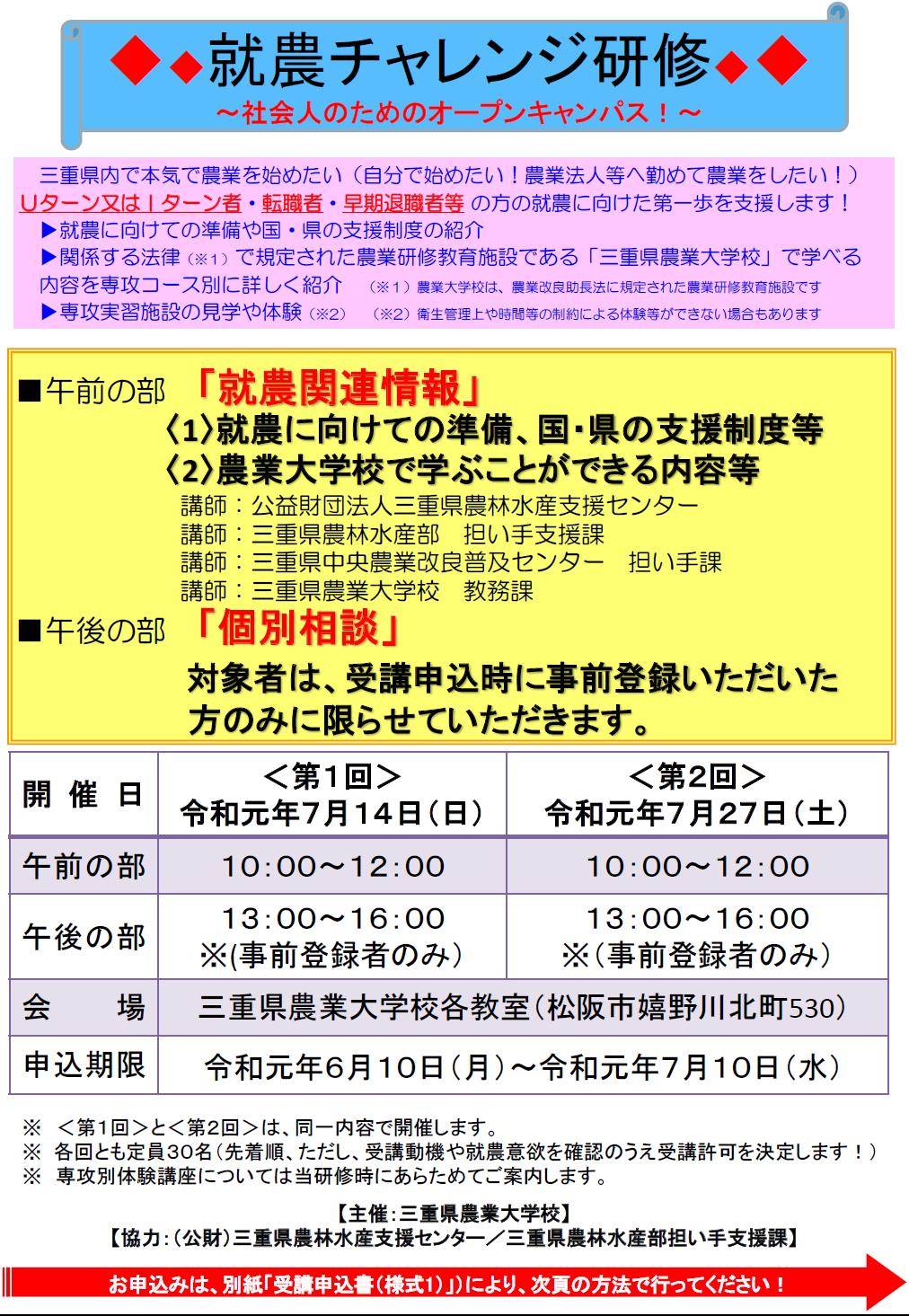 (終了しました)【農業大学校7/14(日),7/27(土)】社会人向け「就農チャレンジ研修」を実施します!_写真1