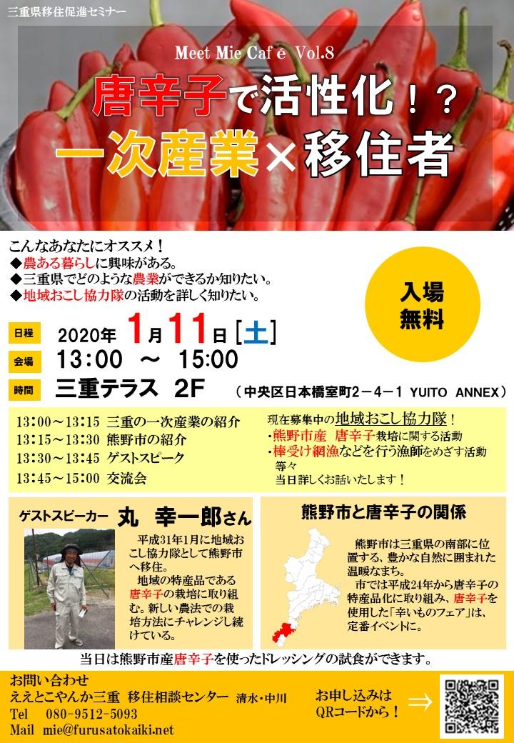 (終了しました)【三重テラス/1月11日(土)】Meet Mie Cafe Vol.8 唐辛子で活性化!?一次産業×移住者を開催します!_写真1